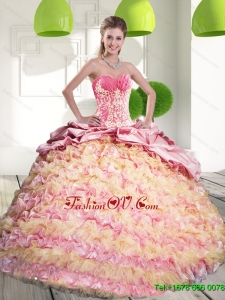 2015 Classic Quinceanera Dresses with Ruffled Layers and Appliques