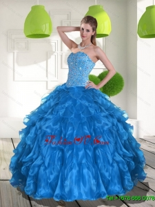 2015 New Arrival Blue Quinceanera Dress with Ruffles and Beading