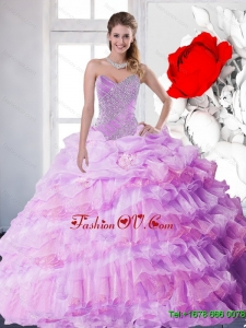 2015 New Style Lilac Quinceanera Dresses with Beading and Ruffled Layers