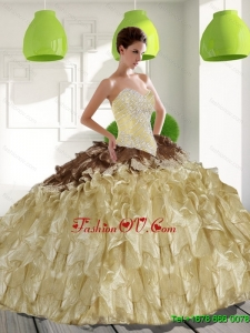 2015 Trendy Sweetheart Classic Quinceanera Dresses with Beading and Ruffles