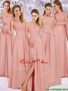 2016 Best Selling Chiffon Peach Long Dama Dresses with Ruching