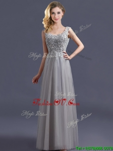 2016 Most Popular Scoop Grey Long Dama Dresses with Appliques