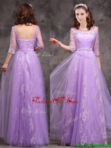 2016 Popular Half Sleeves Lavender Dama Dresses with Appliques and Beading