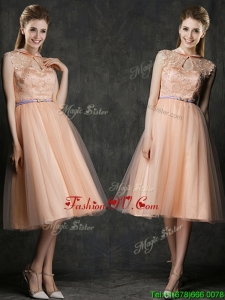 2016 Popular High Neck Peach Dama Dresses with Sashes and Lace