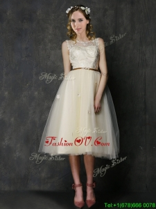 2016 Popular Scoop Champagne Dama Dresses with Sashes and Lace