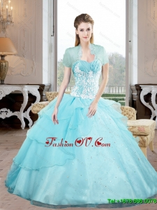 Beautiful Sweetheart 2015 Quinceanera Gown with Appliques and Beading
