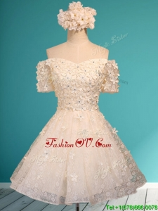 Beautiful White Off the Shoulder Short Sleeves Dama Dresses with Appliques and Beading