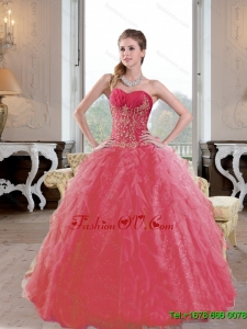 Classic Ruffles and Appliques 2015 Quinceanera Dresses in Coral Red