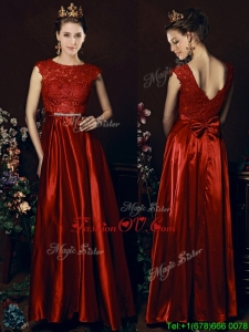 Cheap Scoop Laced and Bowknot Dama Dresses in Wine Red