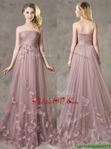 Classical Strapless Brush Train Dama Dresses with Appliques