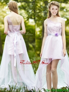 Comfortable One Shoulder High Low Dama Dresses with Sashes and Lace