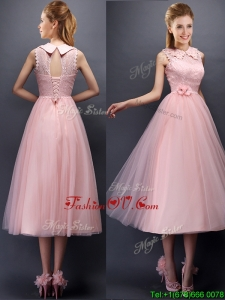 Discount Hand Made Flowers and Laced High Neck Dama Dresses in Baby Pink