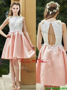 Elegant Bateau Open Back Applique Short Bridesmaid Dress in Pink