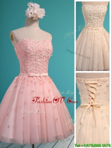 Exquisite Applique and Beaded Sweetheart Dama Dresses in Mini Length