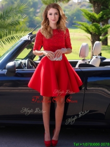 Exquisite Laced Scoop Half Sleeves Dama Dresses in Red