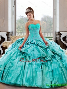 Flirting Sweetheart 2015 Quinceanera Dresses with Appliques and Pick Ups