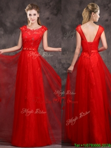 Hot Sale Scoop Red Dama Dresses with Beading and Appliques