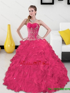 Inexpensive Sweetheart 2015 Quinceanera Gown with Appliques and Ruffles
