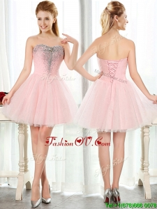 Lovely Beaded and Sequined Short Dama Dresses in Baby Pink