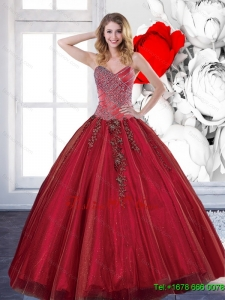 Classic 2015 Sweetheart Quinceanera Dresses with Appliques