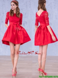 Romantic Bowknot and Laced Scoop Half Sleeves Dama Dresses in Red