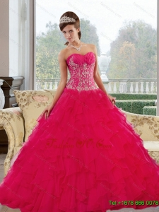 Classic Sweetheart 2015 Red Quinceanera Dresses with Appliques and Ruffles