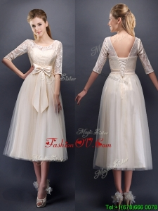 See Through Scoop Half Sleeves Champagne Dama Dresses with Bowknot