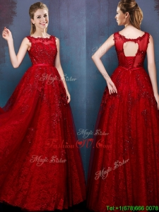 See Through Scoop Wine Red Dama Dresses with Beading and Appliques