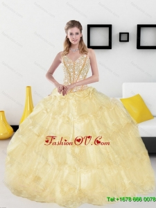 2015 New Style Sweetheart Sweet 15 Dresses with Beading and Ruffled Layers