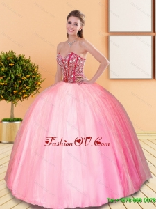 2015 Lovely Beading Sweetheart Ball Gown Quinceanera Dresses in Rose Pink
