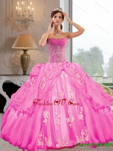 2015 New Style Strapless Quinceanera Dresses with Appliques