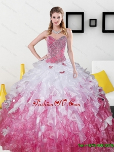 2015 Sweetheart New Style Quinceanera Dresses with Beading and Ruffles