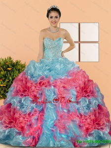 New Style Multi Color 2015 Quinceanera Dresses with Beading and Ruffles