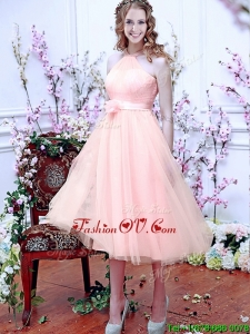 Beautiful Halter Top Baby Pink Prom Dresses with Hand Made Flowers