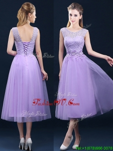 Beautiful See Through Laced and Applique Dama Dresses in Tea Length
