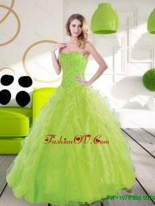 Classic Sweetheart Spring Green 2015 Quinceanera Dresses with Beading and Ruffles