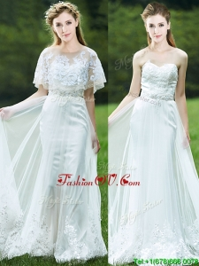 Cheap A Line Applique White Dama Dresses with Brush Train
