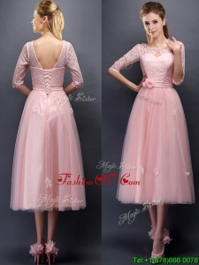 Comfortable Scoop Half Sleeves Prom Dresses with Hand Made Flowers and Appliques