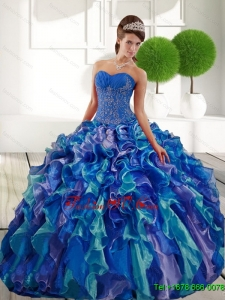 New Style Sweetheart 2015 Quinceanera Dresses with Appliques and Ruffles