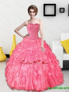 Classic 2015 Beading and Ruffles Sweetheart Quinceanera Dresses