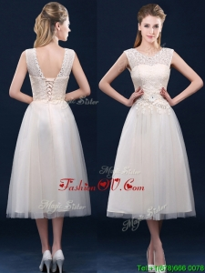 Fashionable Tea Length Scoop Dama Dresses with Lace and Appliques