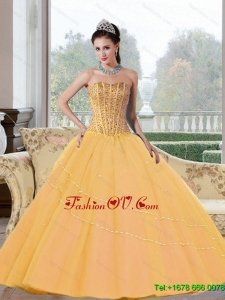 Classic Beading Strapless 2015 Quinceanera Dresses in Gold