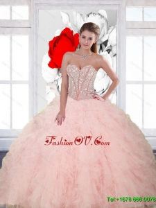 Lovely Beading and Ruffles Sweetheart Quinceanera Dresses for 2015 Spring