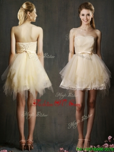 Lovely Sweetheart Short Champagne Prom Dresses with Belt and Ruffles