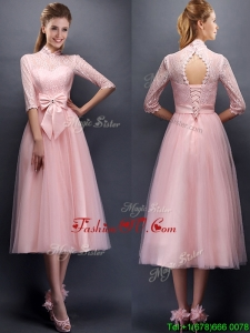 Luxurious Laced High Neck Half Sleeves Prom Dresses with Bowknot