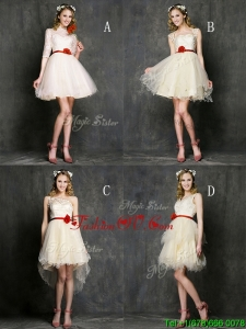 Most Popular Champagne Mini Length Prom Dresses with Belt