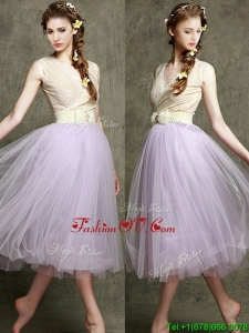 New Style Lavender V Neck Prom Dresses with Bowknot and Belt
