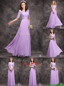 Perfect Applique and Laced Lavender Long Dama Dresses in Chiffon