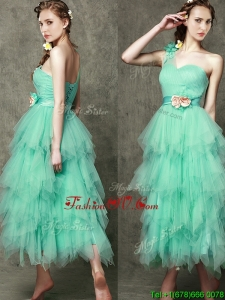 Popular One Shoulder Prom Dresses with Ruffled Layers and Hand Made Flowers