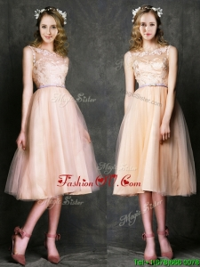 Romantic Laced and Sashed Scoop Prom Dresses in Peach